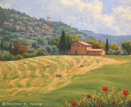"""""""Tuscan Hay"""" Oil on Linen, 20x24"""" ©Jennifer E Young"""