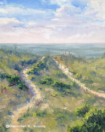 """""""Dunes, Early Morning"""" Oil on Panel, 10"""" x 8""""© Jennifer Young"""