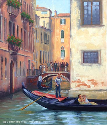 """Touring Venice"" Oil on linen, 24x20"" (SOLD) ©Jennifer Young"