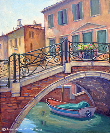 """Under the Bridge, Venice"" 24x20"", Oil on Linen (SOLD) ©Jennifer Young"