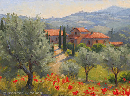 """Benvenuti in Toscana"" Oil on Canvas, 9x12"" (SOLD) ©Jennifer Young"