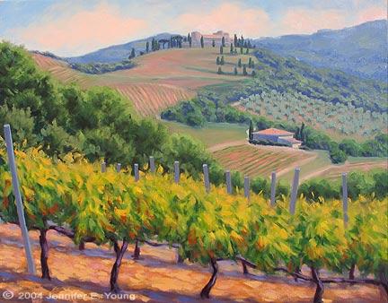 """Piccolomini Vineyard"", Oil on linen, 24x30"" (SOLD) ©Jennifer Young"