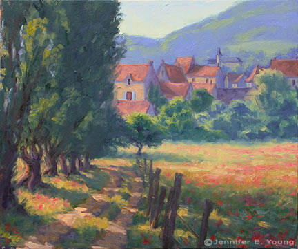 """Path to St. Germain du Bel Air"", oil on linen, 24x30"" (SOLS) ©Jennifer Young"