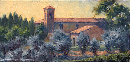 """Evening Light, Tuscany"" Oil on linen, 6x12"" ©Jennifer Young"