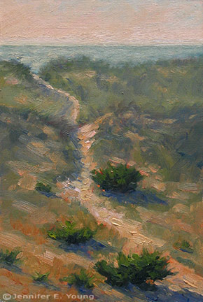 """Hatteras Island Dunes I"" Oil on Linen, 12""x8"" (SOLD)   ©Jennifer Young"