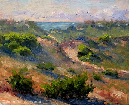 """Hatteras Island Dunes II"" Oil on Linen, 8x10"" (SOLD) ©Jennifer Young"