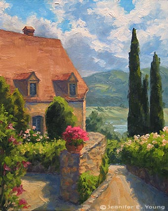 """Gardens Above the Valley Dordogne"" Oil on Linen, 20x16"" (SOLD)  ©Jennifer Young"
