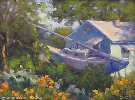 """""""Summer's End"""" Oil on board, 9x12"""" (SOLD) ©Jennifer Young"""