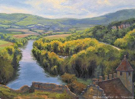 """Shifting Light on the Dordogne"" Oil on Linen, 30x40"" ©Jennifer Young"