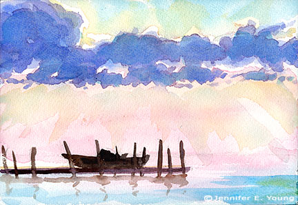 """Sunset on the Sound"" Watercolor, 7x10"" (SOLD) ©Jennifer Young"