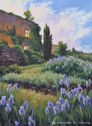 """""""Irises at Abbaye Nouvelle"""" Oil on Canvas, 40""""x30"""" ©Jennifer Young"""