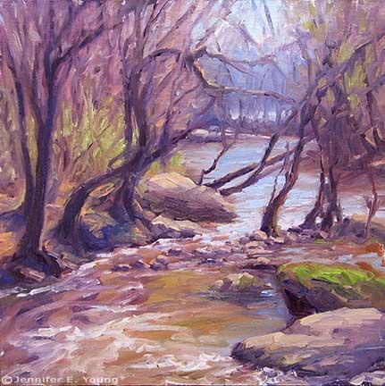 """Downstream"" Oil on Linen, 12x12"" ©Jennifer Young"