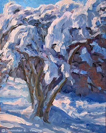 """Snowed Under"" 10x8"" Oil on Multimedia ArtBoard  ©Jennifer Young"