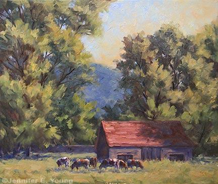 """Pastoral, St. Germain de Bel Air"", Oil on Canvas, 20x24"" (SOLD) ©Jennifer Young"
