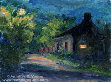 """Le Nocturne Francais"" Oil on Multimedia Artboard, 6x8"" ©Jennifer Young"