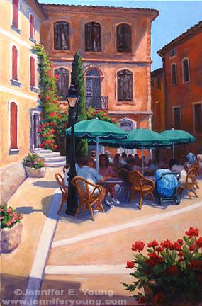 """Dejeuner a Roussillon"", Oil on Canvas, 36x24"" ©Jennifer Young"