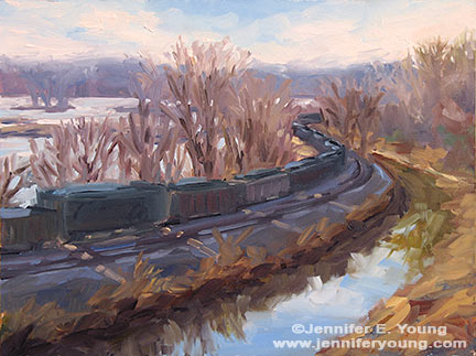 """Winter on the James"" Oil on canvas, 9x12"" ©Jennifer Young"