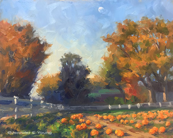 """October Pumpkins, Hanover"" Oil on Panel, 8x10"" ©Jennifer Young"