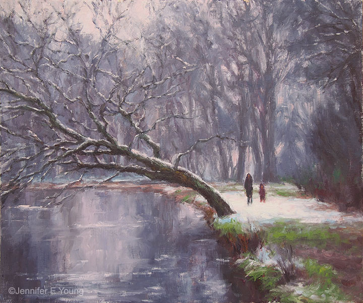 """Winter Walk"", Oil on linen, 20x24"",  ©Jennifer E Young"