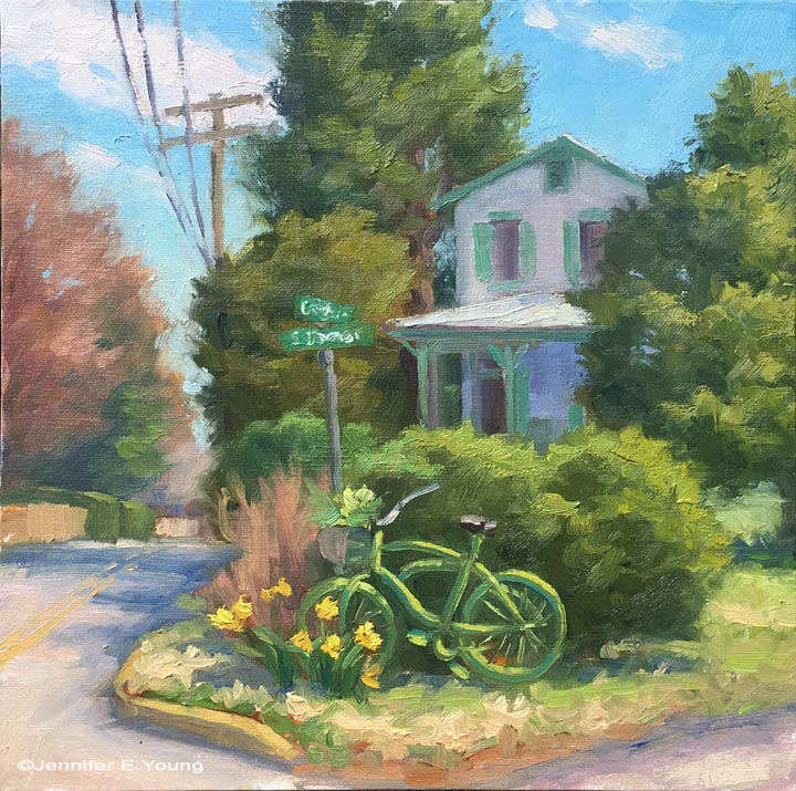 """Bicycle Garden,"" Oil on linen, 10x10"""