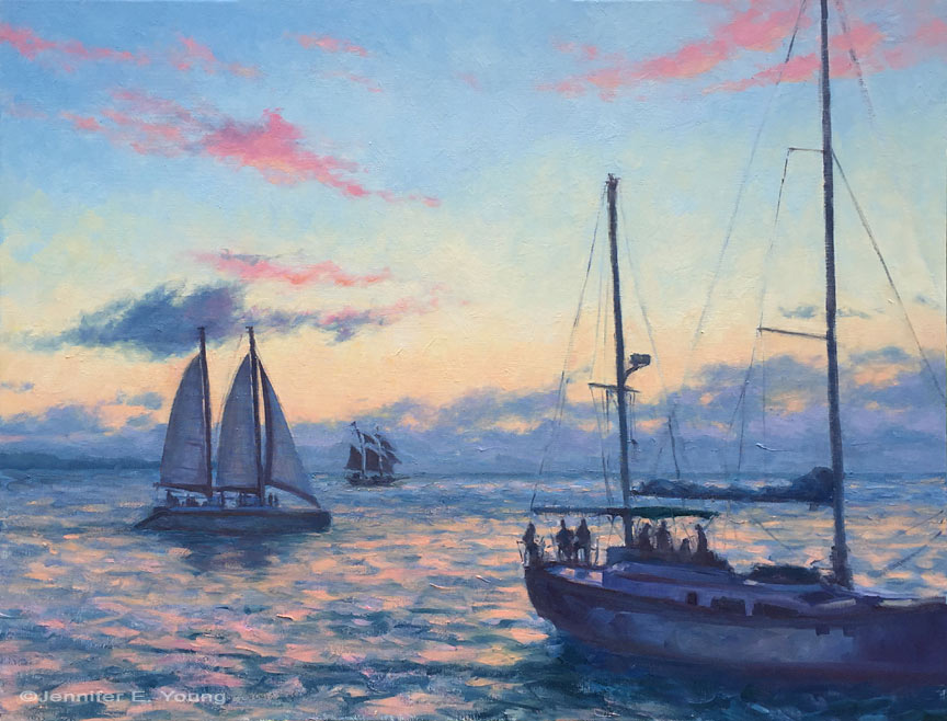 """Sunset Sail"", Oil on linen, 30x40"""