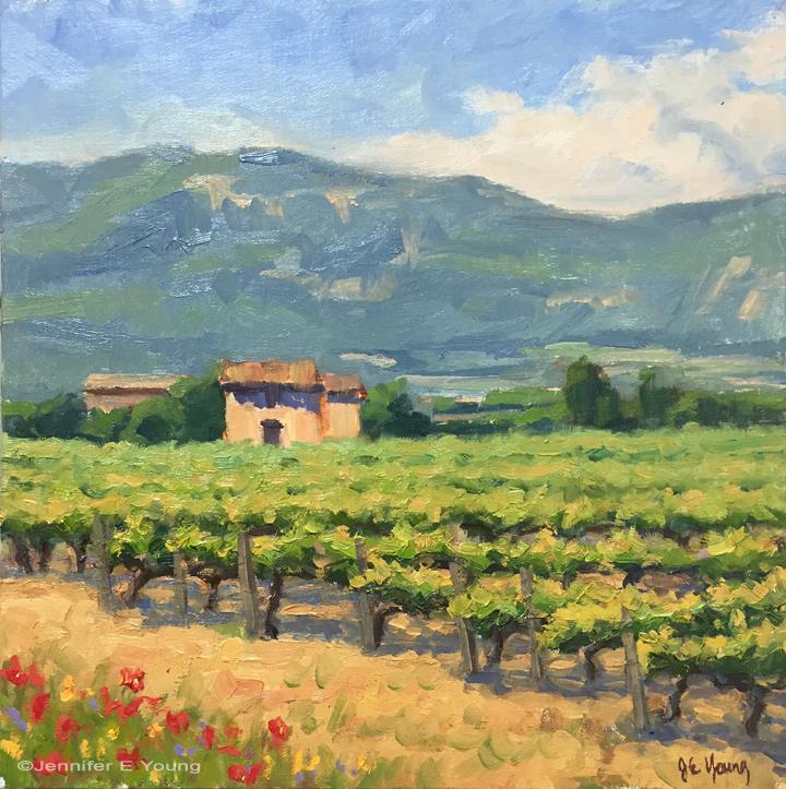 """Sunny Provence"", Oil on linen, 12x12"" ©Jennifer E Young"