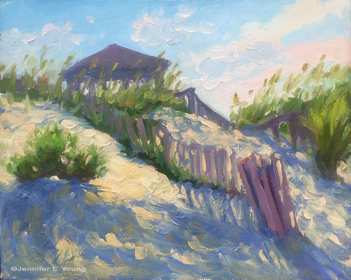 """Dune Shadows, 6 PM"", Oil on linen, 8x10"""