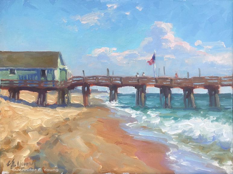 """Morning at Avalon Pier"", Oil on linen, 9x12"""