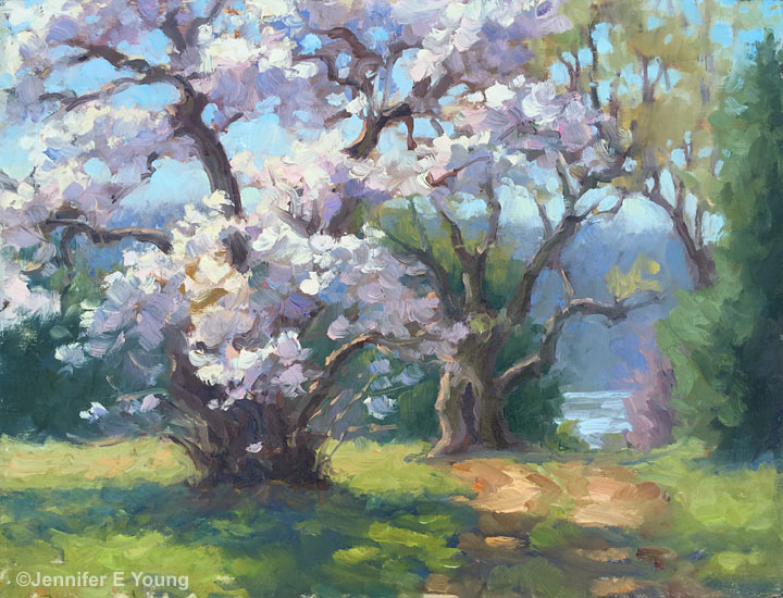 """Spring Renewal"", Oil on panel, 9x12"" ©Jennifer E Young"