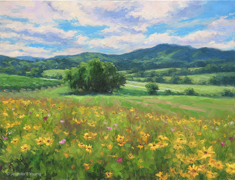 """Cloud Dance, Pippin Hill Winery"" Oil on linen, 30x40"", ©Jennifer E Young"