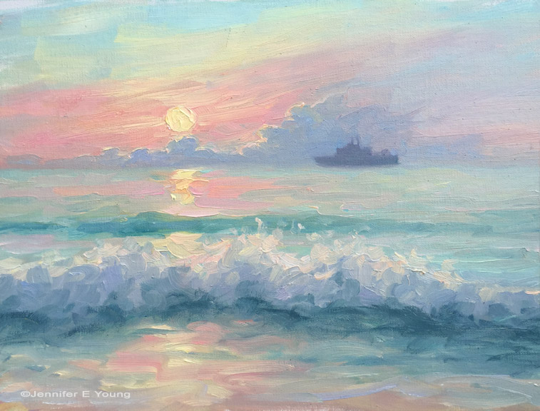 """Anchored at Sunrise"", Oil on panel, 9x12"" ©Jennifer E Young"