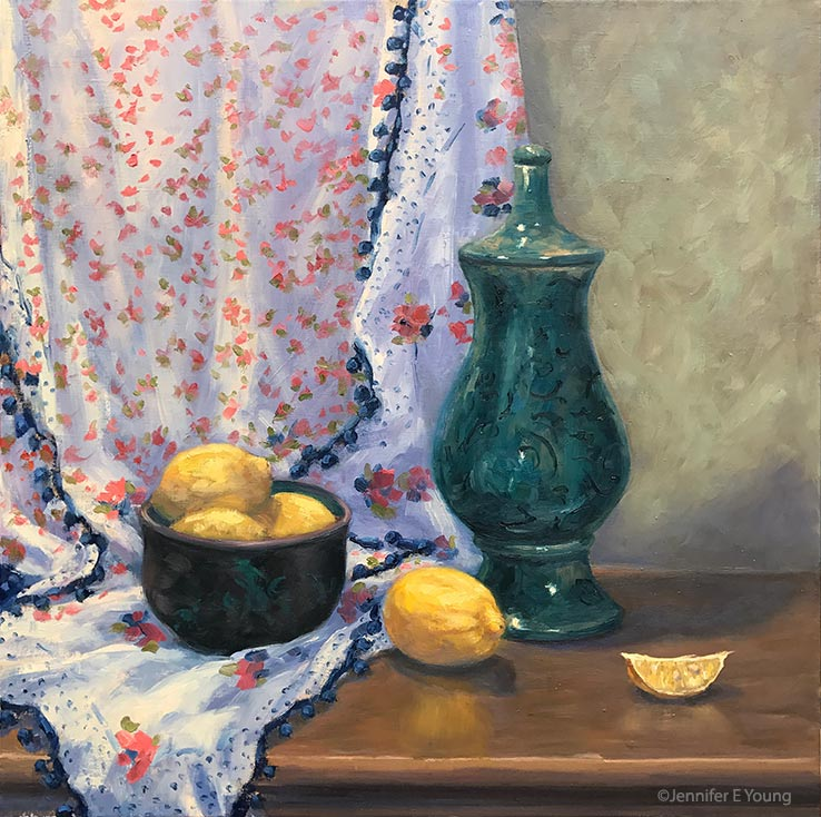 """Lemons With a Springtime Shawl"", Oil on linen, 24x24"" ©Jennifer E Young"