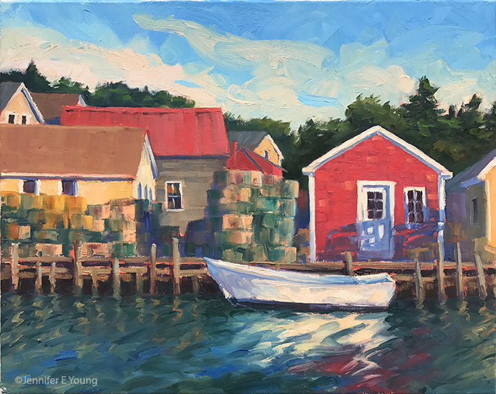 """Evening at Carver's Harbor"", Oil on linen, 16x20"" ©Jennifer E Young"