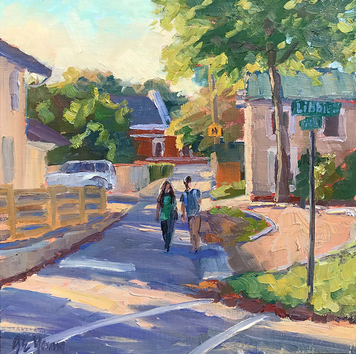 """I'll Walk You Home"", Oil on linen, 12x12"""