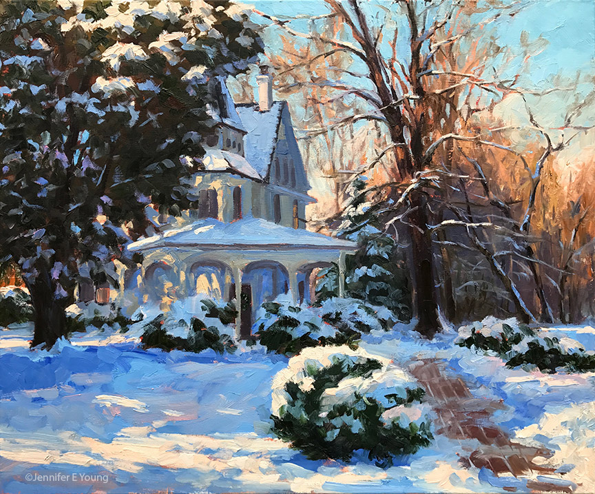 """Victorian Winter"", Oil on linen, 20x24"" ©Jennifer E. Young"