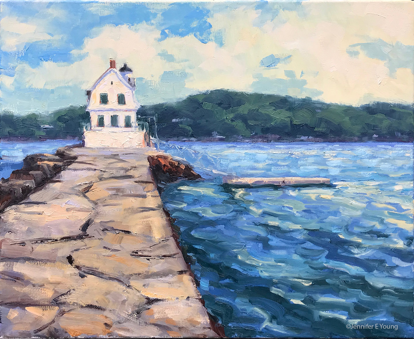 """Afternoon Breeze, Rockland Breakwater"", Oil on linen, 20x24"""