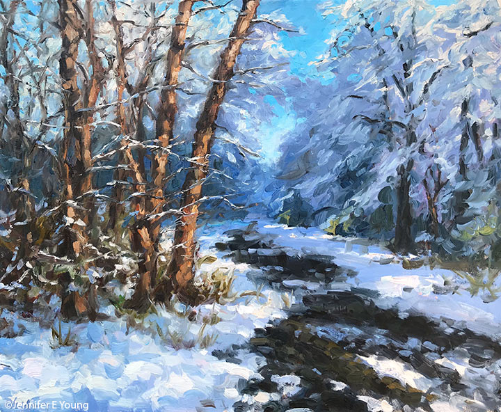 """Winter Light at Stony Run Trail"", Oil on linen, 20x24"""