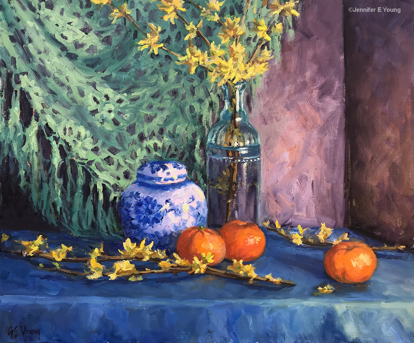 """Forsythia and Blue Delft"", Oil on linen, 20x24"""