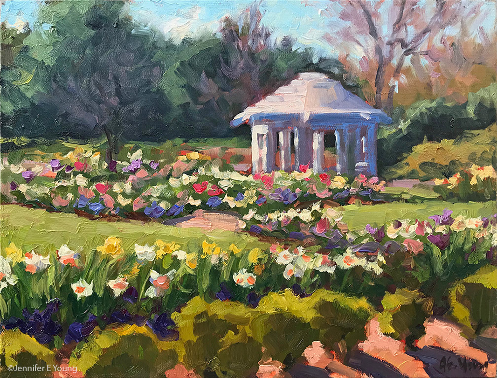 """A Million Blooms in Grace Arents Garden"" Oil on linen, 11x14"" ©Jennifer E Young"