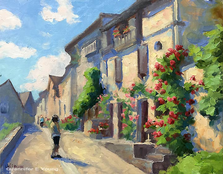 """Charmed In Beynac"", Oil on linen, 11x14"", will be included in the upcoming ""April Showers Bring May Flowers"" exhibit of flower-themed art at Gallery Flux."