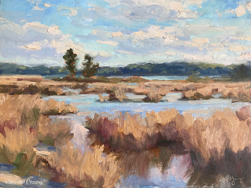 """Two Pines, Hughlett Point"", Oil on linen, 12x16"""