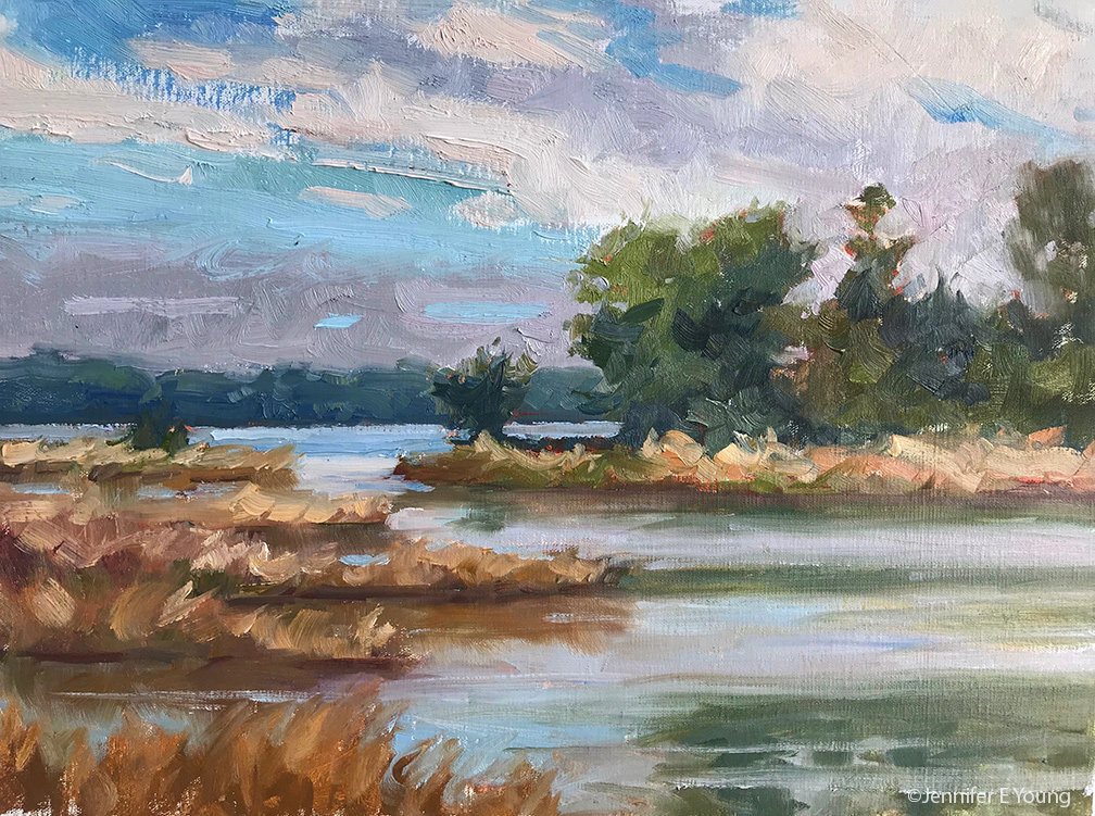 """Wind on the Marsh"", Oil on linen, 12x16"""
