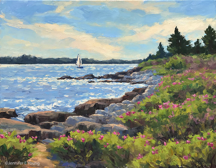 """First pass of my 24x30"""" studio painting based on the smaller plein air piece below."""