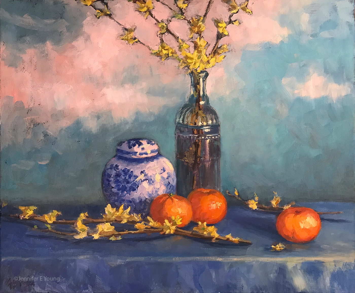 """Forsythia and Delft Blue"", Oil on linen, 20x24"" ©Jennifer E Young (click the image for details)"