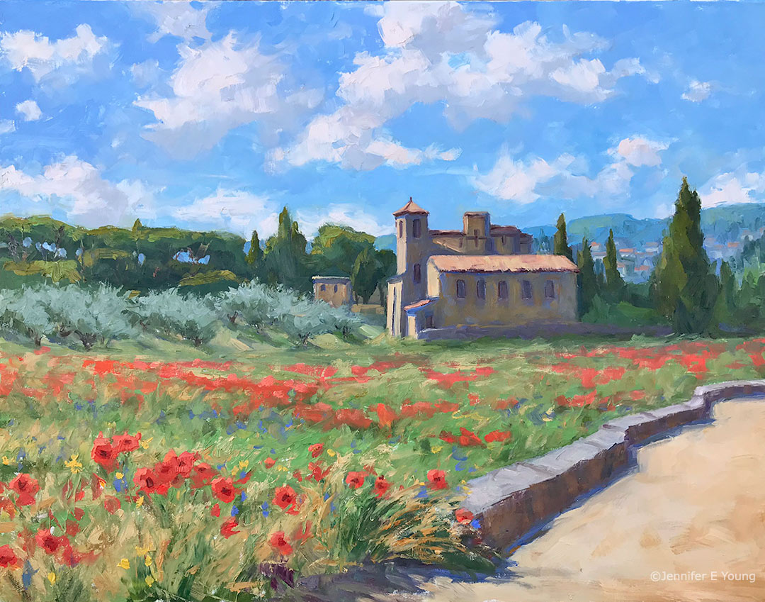 """Le Printemps, Temple de Lourmarin"", Oil on linen, 24x30"" ©Jennifer E Young"