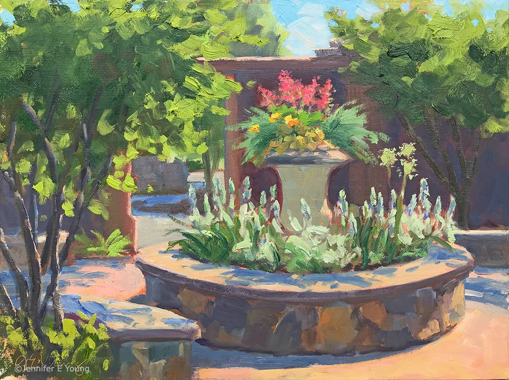 """Illuminated Courtyard, Lewis Ginter Botanical Gardens"", Oil on linen, 12x16"" ©Jennifer E Young"