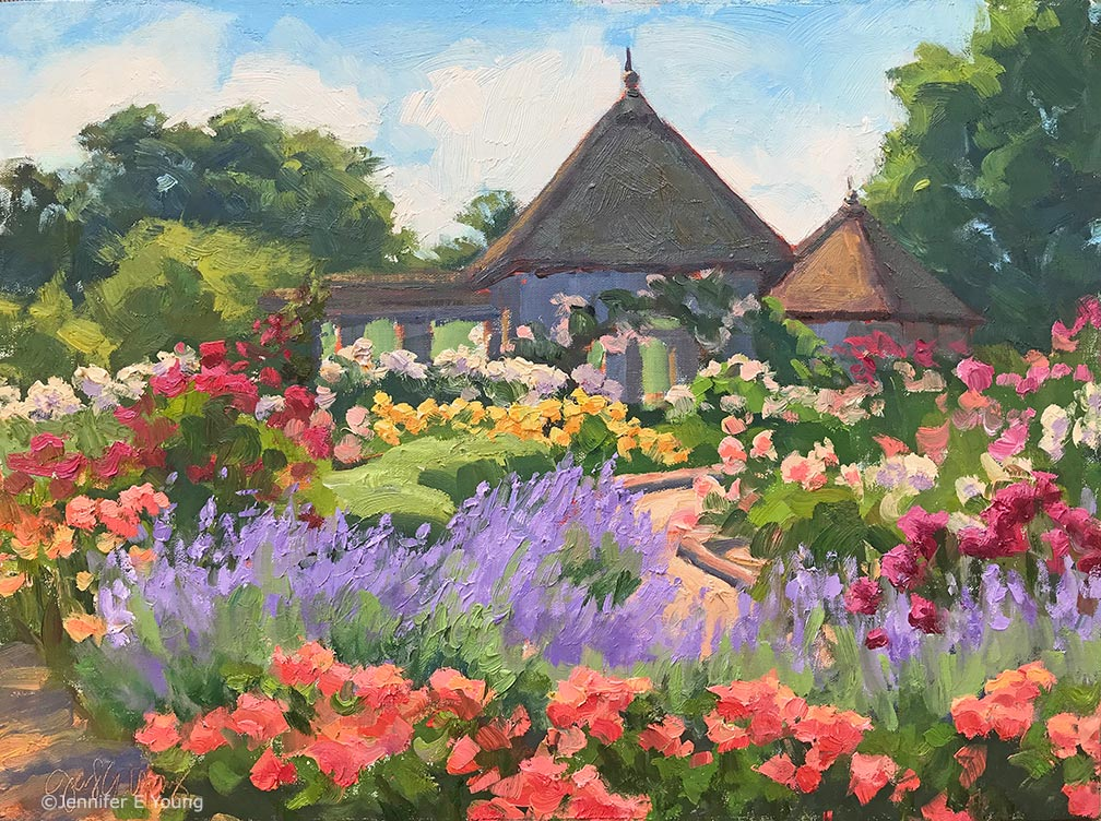 """Rose Regalia, Lewis Ginter Botanical Gardens"", Oil on linen, 12x16"" ©Jennifer E Young"