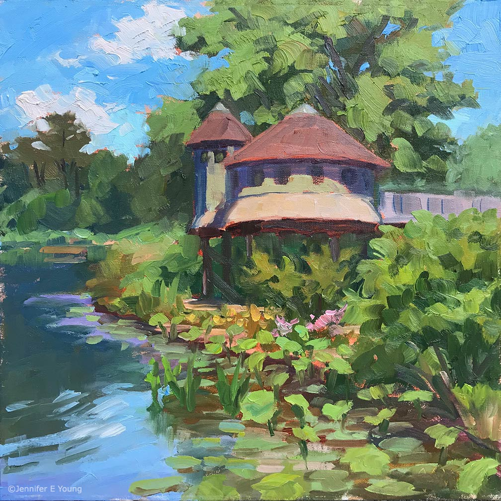 """The Magical Treehouse, Lewis Ginter Botanical Gardens"", Oil on linen 12x12"" ©Jennifer E Young"