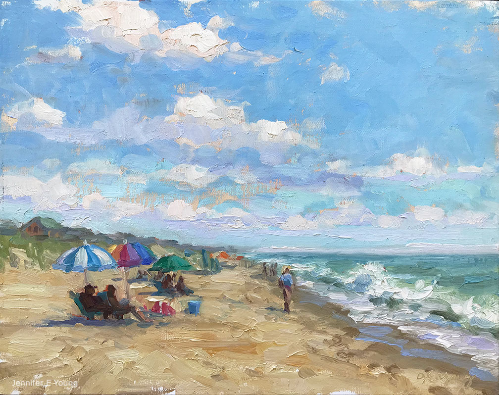 """Nags Head in July,"" Oil on linen, 11x14"" ©Jennifer E Young"