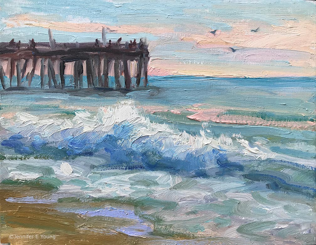 """Nags Head Pier, 6 A.M."" Oil on linen, 8x10"" ©Jennifer E Young"